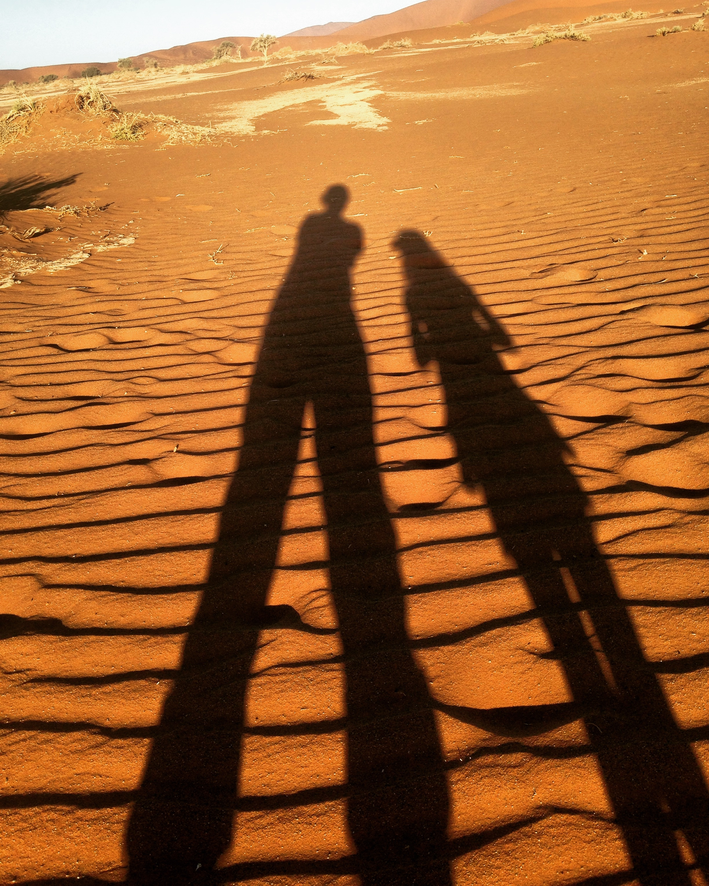 Shadow of Amy and Quinn reflected on the red dirt of the Soussusvlei desert in Namibia